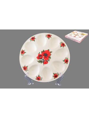 Тарелка для фаршированных яиц Маки Elan Gallery. Цвет: белый, красный