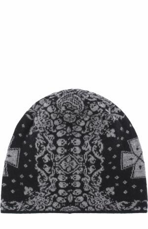 Шерстяная шапка бини с принтом Gemma. H. Цвет: черный