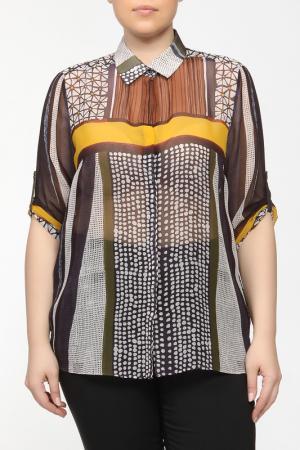 Рубашка-блузка Elena Miro. Цвет: желтый, коричневый, синий