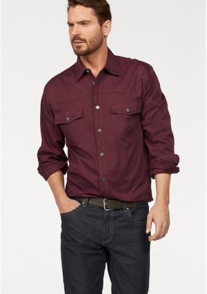 Джинсовая рубашка Arizona. Цвет: бордовый, черный