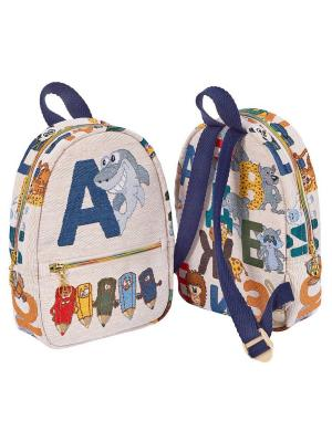 Рюкзак из водоотталкивающего гобелена Русские буквы Якимок. Цвет: светло-бежевый