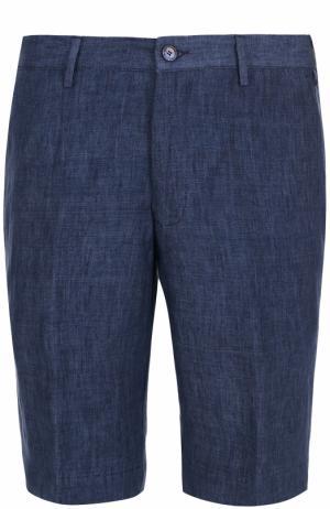 Льняные бермуды с карманами Germano. Цвет: синий