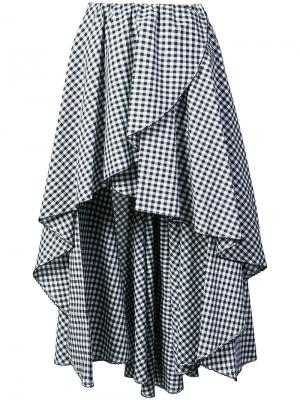 Асимметричная клетчатая юбка с оборками Caroline Constas. Цвет: чёрный