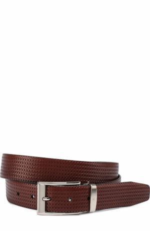 Кожаный ремень с металлической пряжкой Canali. Цвет: коричневый