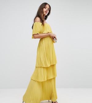 Taller Than Your Average Плиссированное платье макси с открытыми плечами и оборками TTYA BLACK. Цвет: фиолетовый