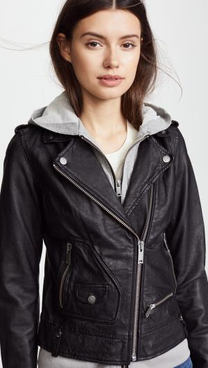 Hoodie Leather Jacket Doma