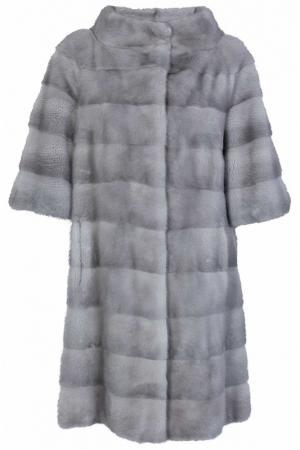 Пальто с мехом норки Bellini. Цвет: серый