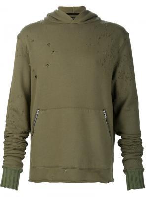 Distressed hoodie Amiri. Цвет: зелёный