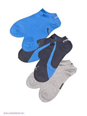 Носки, 3 пары Puma. Цвет: серый, синий