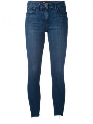 Укороченные джинсы с необработанным низом 3X1. Цвет: синий