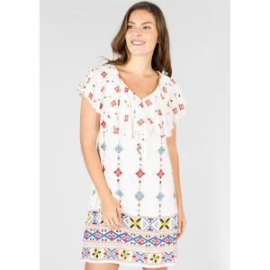 Платье прямое с цветочным рисунком средней длины, 3/4 RENE DERHY. Цвет: экрю/рисунок