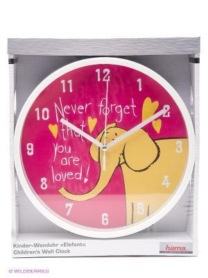 Детские настенные часы Elephant H-123171 HAMA. Цвет: розовый