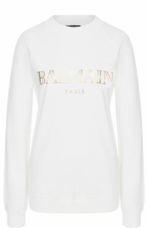 Свитшот прямого кроя с металлизированным логотипом бренда Balmain. Цвет: белый