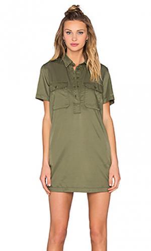 Платье-рубашка cupro officers NLST. Цвет: оливковый