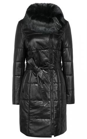 Женское кожаное пальто с отделкой мехом кролика и поясом La Reine Blanche