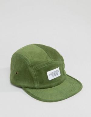 WESC 5-панельная вельветовая кепка. Цвет: зеленый