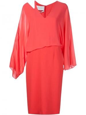 Платье c V-образным вырезом Jeffrey Dodd. Цвет: розовый и фиолетовый