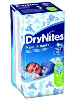 Трусики DryNights для мальчиков 4-7лет 10шт HUGGIES. Цвет: белый, синий