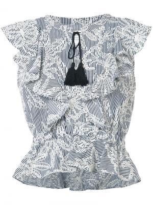 Полосатый топ с вышивкой Mcguire Denim. Цвет: чёрный