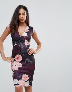 Jessica Wright Облегающее платье с глубоким вырезом и цветочным принтом Wrigh. Цвет: мульти