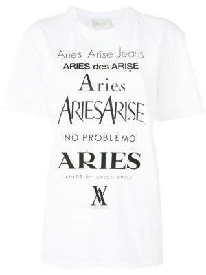 Футболка с принтом-логотипом Aries. Цвет: белый