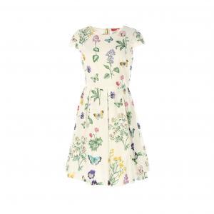 Платье с круглым вырезом и цветочным рисунком RENE DERHY. Цвет: рисунок цветочный/белый