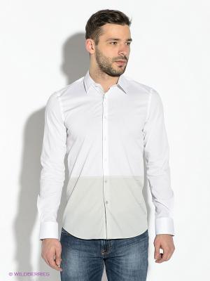 Рубашка GUESS. Цвет: белый, светло-серый