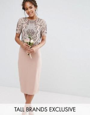 Maya Tall Платье с декорированным накладным топом. Цвет: розовый