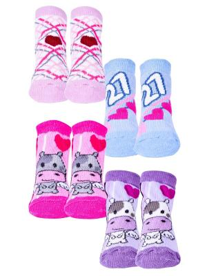 Носки, 4 пары Malerba. Цвет: голубой, розовый, фиолетовый