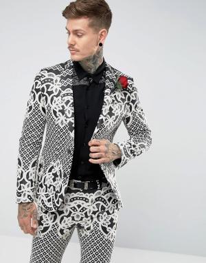 ASOS Черно-белый приталенный пиджак с жаккардовой вышивкой. Цвет: черный