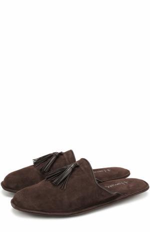 Замшевые домашние туфли без задника Homers At Home. Цвет: коричневый