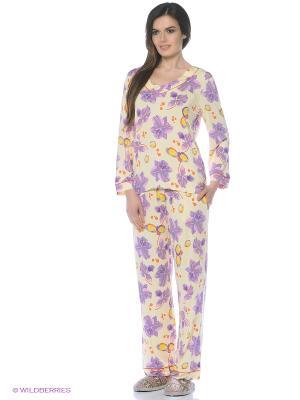 Пижама Del Fiore. Цвет: сиреневый, светло-желтый