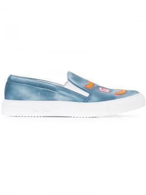 Кеды-слипон с вышивкой Del Toro Shoes. Цвет: синий