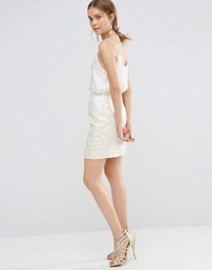Uttam Boutique Жаккардовая облегающая юбка. Цвет: золотой