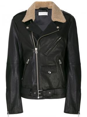 Байкерская куртка с воротником из овчины Faith Connexion. Цвет: чёрный