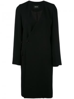 Пальто с глубоким V-образным вырезом Zucca. Цвет: синий