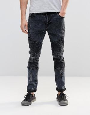 Systvm Байкерские джинсы с потертостями Nickel Marble. Цвет: черный