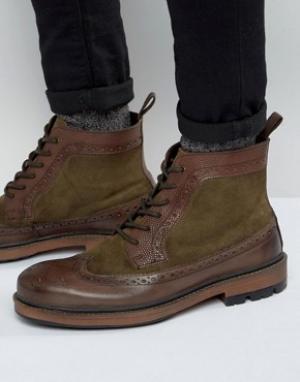 Frank Wright Коричневые кожаные ботинки-броги. Цвет: коричневый