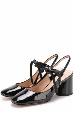 Лаковые туфли на шнуровке Marc Jacobs. Цвет: черный