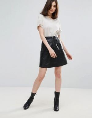 Muubaa Кожаная юбка-трапеция Panalla. Цвет: черный