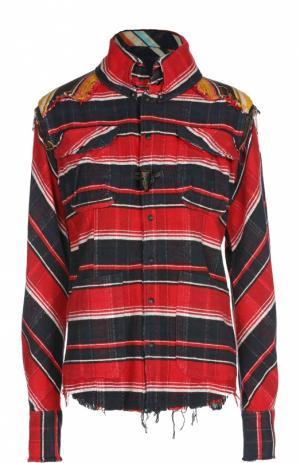 Блуза асимметричного кроя в клетку с накладными карманами L.G.B.. Цвет: красный