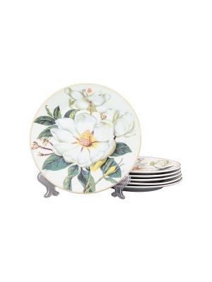 Набор тарелок Белый шиповник Elan Gallery. Цвет: белый, зеленый
