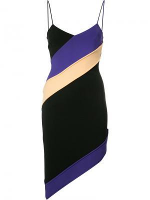 Асимметричное платье с диагональную полоску David Koma. Цвет: чёрный