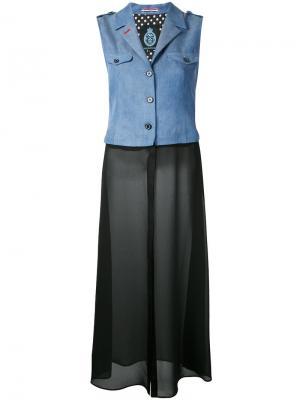 Многослойное платье мини Guild Prime. Цвет: синий