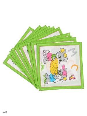 Набор платков носовых детских Римейн. Цвет: зеленый, белый