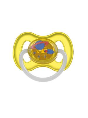 Пустышка круглая силиконовая, 0-6 Space, цвет: желтый Canpol babies. Цвет: желтый