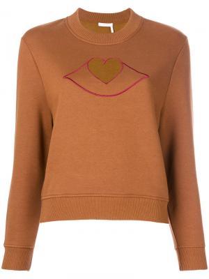 Толстовка с деталью в форме сердца See By Chloé. Цвет: коричневый