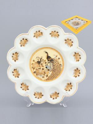 Тарелка для фаршированных яиц Павлин на бежевом Elan Gallery. Цвет: бежевый, белый, коричневый