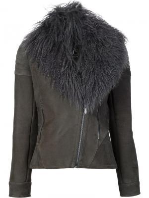 Байкерская куртка Hazel Zac Posen. Цвет: серый