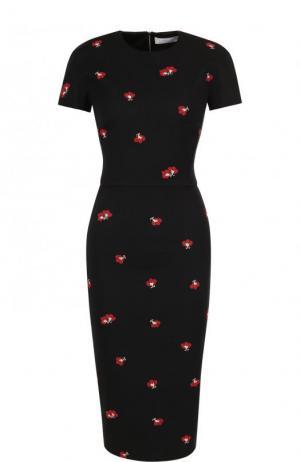 Приталенное платье-миди с принтом и коротким рукавом Victoria Beckham. Цвет: черный
